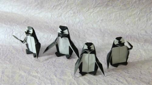Оригами пингвин по схеме Fernando Gilgado