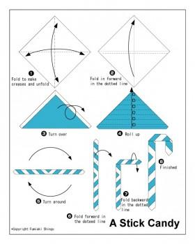 Оригами схема рождественской палочки