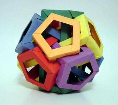 Сборка кусудамы-призмы из пентагоналов за схемой Daniel Kwan