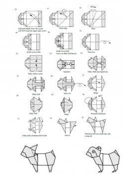 Схема складывания манигами Бульдог от Janessa Munt Часть 2