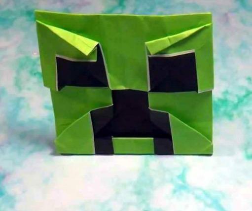Страшилка оригами Minecraft Creeper face от Джереми Шафера