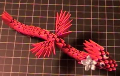 Дракон оригами из треугольных модулей видео мастер-класс