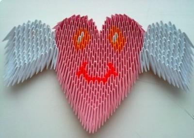 Как сделать сердце оригами с крылышками