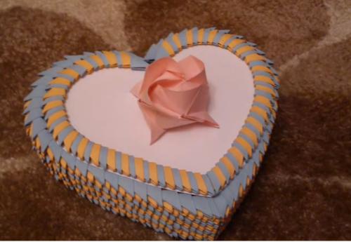 Коробочка сердечко оригами - отличный подарок ко дню влюбленных