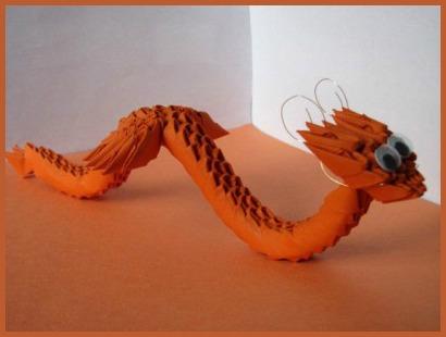 Модульное оригами Дракон-Змееныш