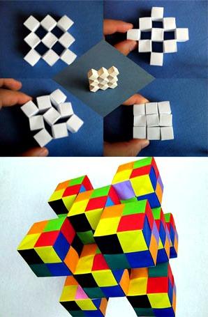 Модульные подвижные кубики оригами Сонобе (2 модели сборки)