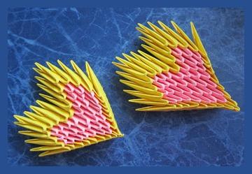Модульное оригами сердце из бумаги ко Дню святого Валентина