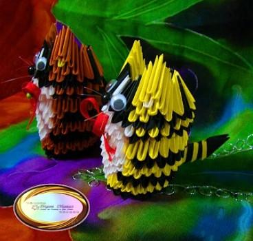 Модульное оригами кот схема