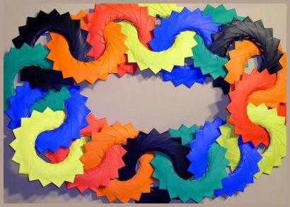 Оригами из бумаги кольцо из модулей схема сборки