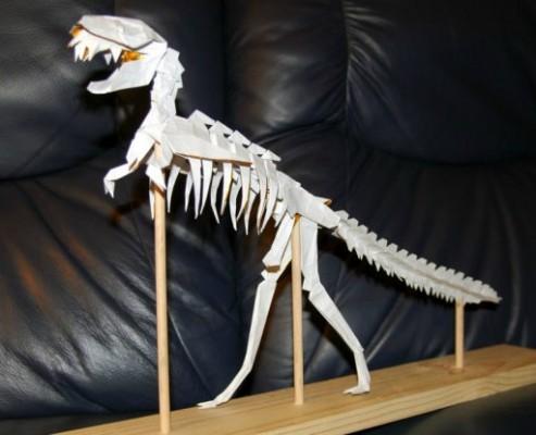 Оригами скелет Динозавра T-Rex за схемой Issei Yoshino