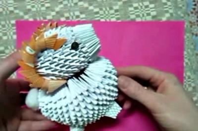 Овен оригами из треугольных модулей