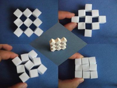 Подвижные кубы оригами Сонобе схема (первый вариант)