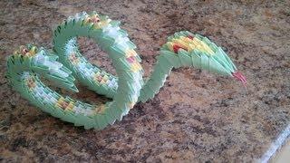 Змейка оригами из треугольных модулей