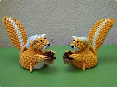 Модульное оригами Белочка схема сборки