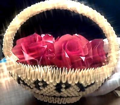 Модульное оригами на 8 марта - Корзинка с цветами