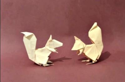 Белка оригами из бумаги