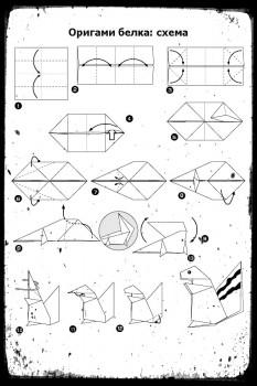 Как сделать оригами Белку схема сборки