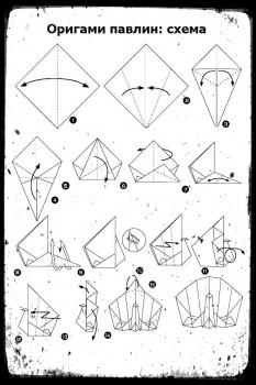 Оригами Павлин схема сборки