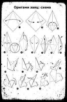 ОригамиЗаяц схема