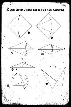 Оригами листья цветка схема сборки