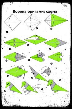 Оригами ворона открывающая рот схема сборки