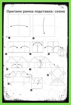 Как сделать Рамку подставку оригами схема