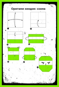 Как сделать из бумагиНиндзя схема
