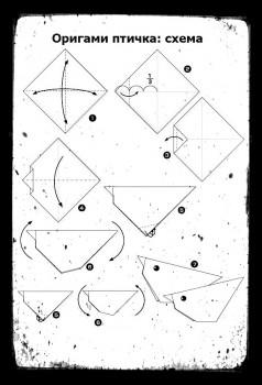 Как сделать птичку оригамисхема сборки