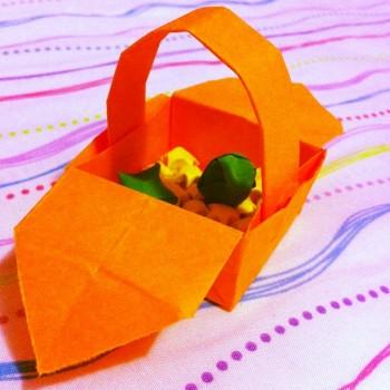 Корзинка оригами из бумаги