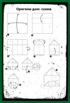 Оригами из бумаги Дом схема сборки