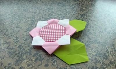 Оригами из бумаги Подсолнух мастер-класс