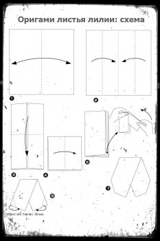 Оригами листья лилии схема