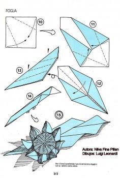 Схема сборки Подсолнух оригами из бумаги от Nilva Fina Pillan шаг 10-15