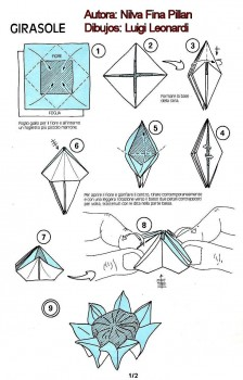 Схема сборки оригами цветок Подсолнуха от Nilva Fina Pillan шаг 1-9