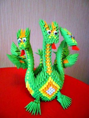 Трехглавый дракон из модулей от Галины Тиховой